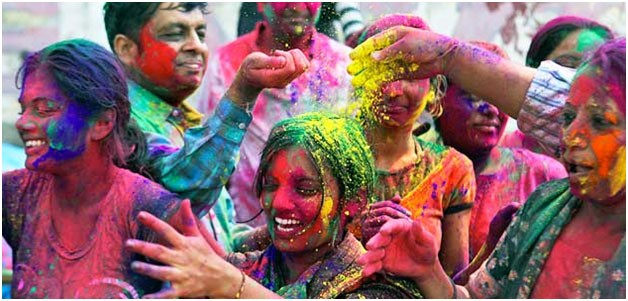 people enjoying holi